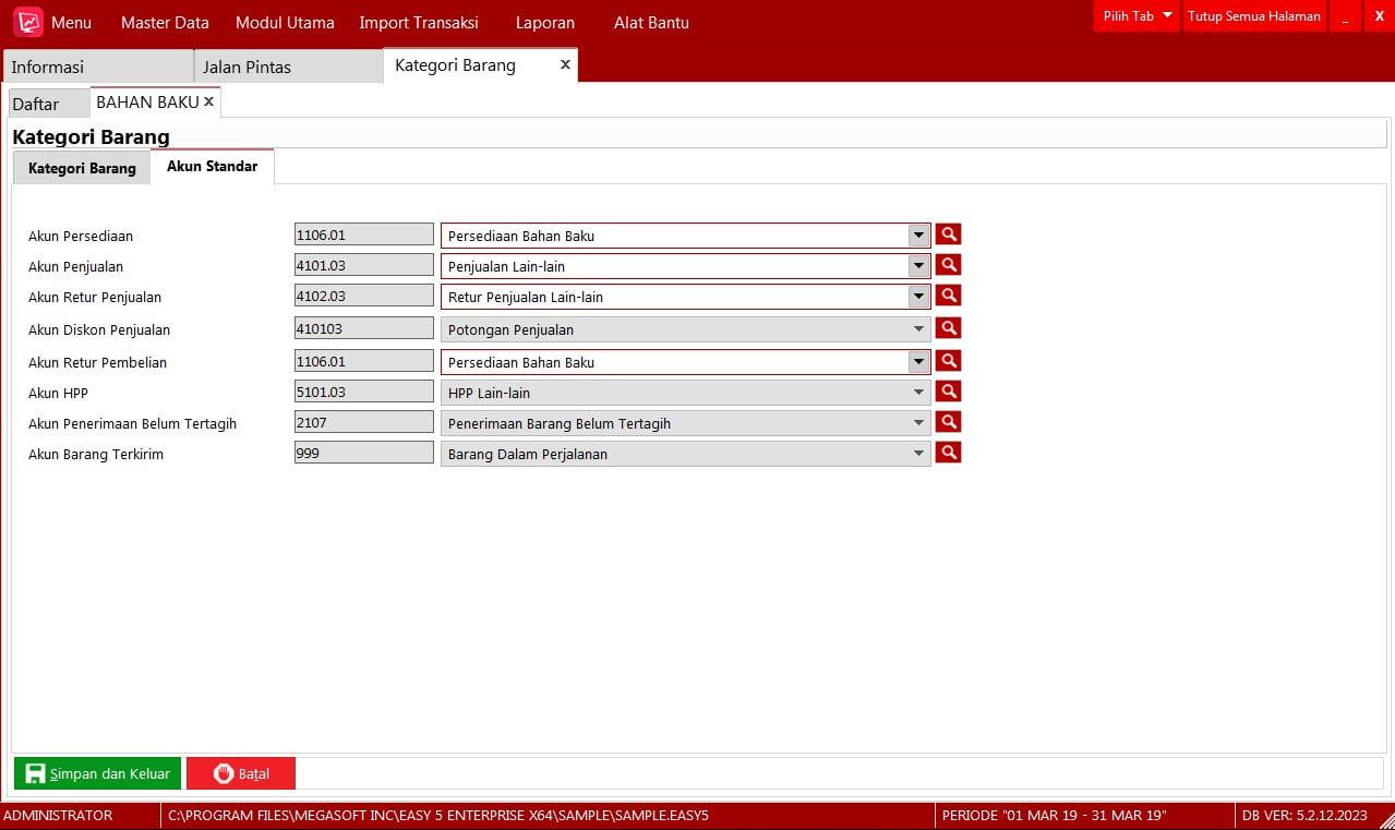 Kategori Barang di EASY Accounting