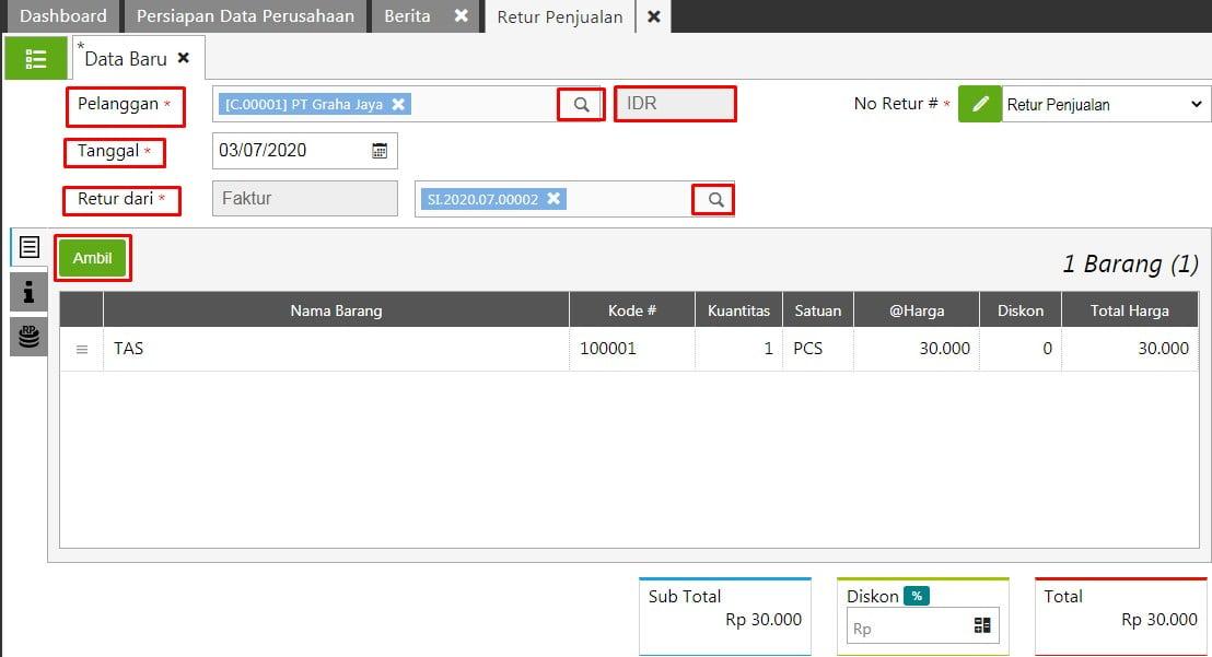 Cara Input Transaksi Sales Return di Accurate Online