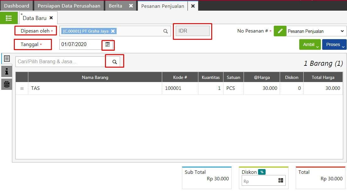 Cara Input Transaksi Sales Order di Accurate Online